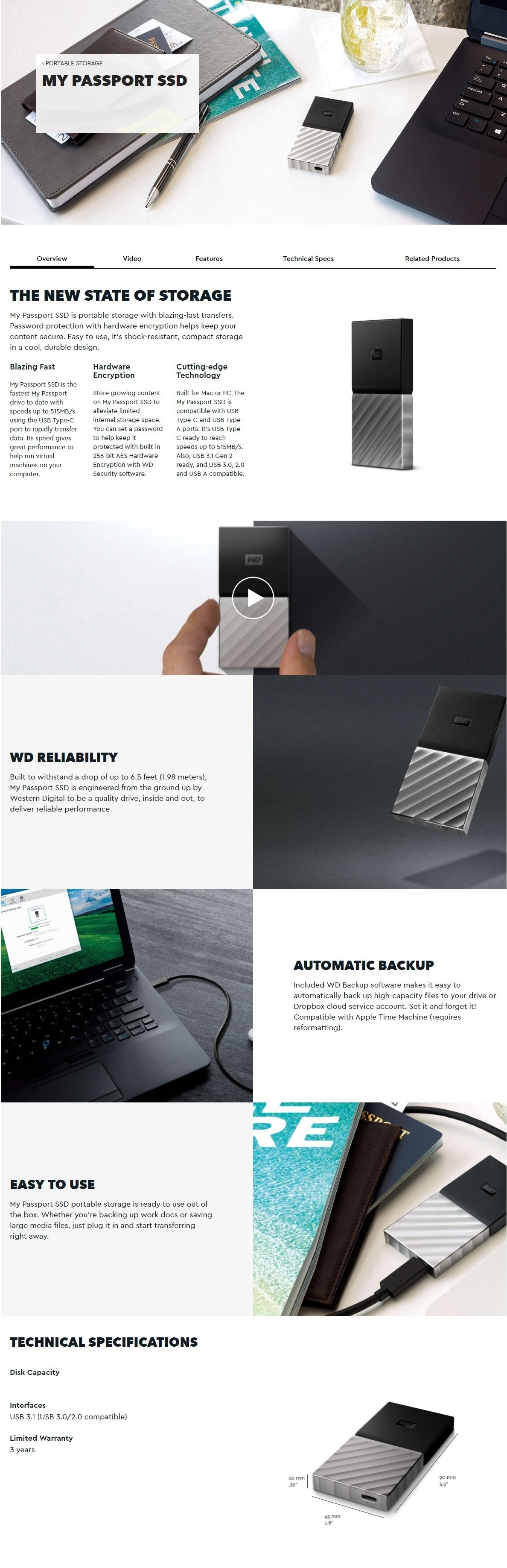 Hard Drives Ssds Wd My Passport 256gb Ssd Type C Portable Drive Hardisk Pasport External Password Protection With Hardware Encryption Helps Keep Your Content Secure Easy To Use The Is Shock Resistant Compact Storage In A Cool